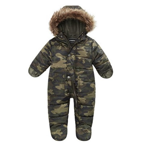 S Rothschild Hooded Parka Footed Pram With Faux-Fur Trim Boys Size 3-6 Months
